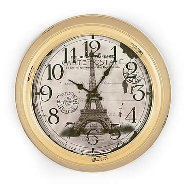 One Allium Way Eiffel Tower 18.5'' Circular Yellow/Beige Wall Clock
