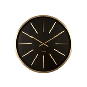 Orren Ellis Round Brass Station Oversized Wall Clock; Black