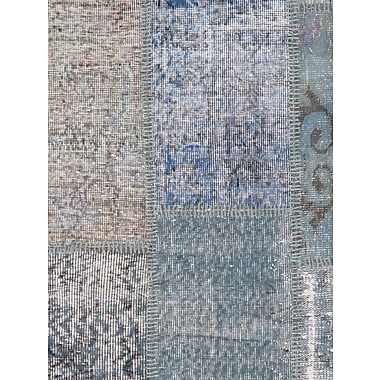 Pasargad Patchwork Wool Hand-Knotted Blue Area Rug