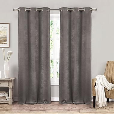 Red Barrel Studio Littlefield Solid Blackout Thermal Grommet Curtain Panels (Set of 2); Gray