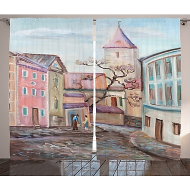 Tolland Watercolored Graphic Print and Text Semi-Sheer Rod Pocket Curtain Panels (Set of 2)