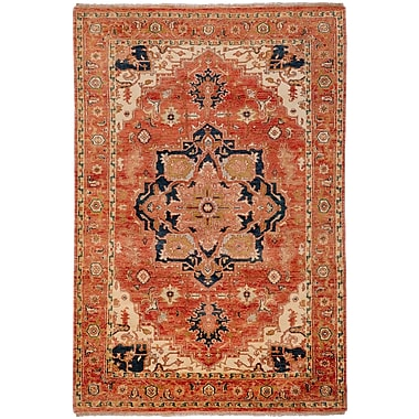 Red Barrel Studio Orland Hand-Knotted Rust Area Rug; Rectangle 3'9'' x 5'9''