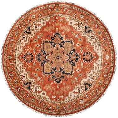 Red Barrel Studio Orland Hand-Knotted Rust Area Rug; Round 8'