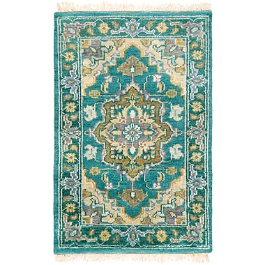 Red Barrel Studio Orland Hand-Knotted Emerald Area Rug; Rectangle 2' x 3'