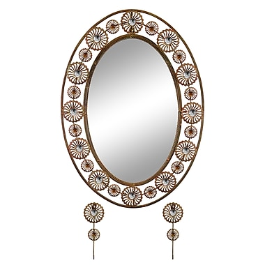 Red Barrel Studio Elegant Bejeweled Oval Accent Wall Mirror