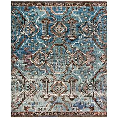 World Menagerie Wooten Blue/Light Blue Area Rug; Rectangle 8' x 10'