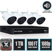 Night Owl WNVR201-44P Wireless 4 Channel Smart Security Hub with 4 x 1080p Infrared IP Cameras