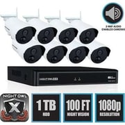 Night Owl WNVR201-88P Wireless 8 Channel Smart Security Hub with 8 x 1080p Infrared IP Cameras