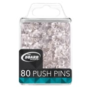 The Board Dudes Push Pins For Bulletin Boards, Clear, 80/Pack (CYC99)