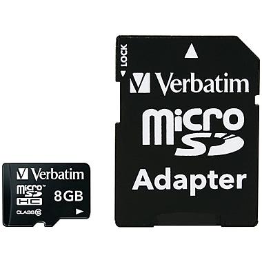 Verbatim – Carte mémoire microSDHC Premium 8 Go avec adaptateur, UHS-I classe 10