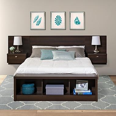 Prepac™ - Tête de lit flottante Series 9 Designer pour grand lit, avec tables de nuit, fini espresso