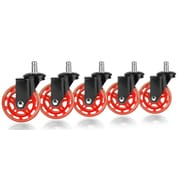 Slipstick Rollerblade Office Chair Casters (Set of 5); Black/Red
