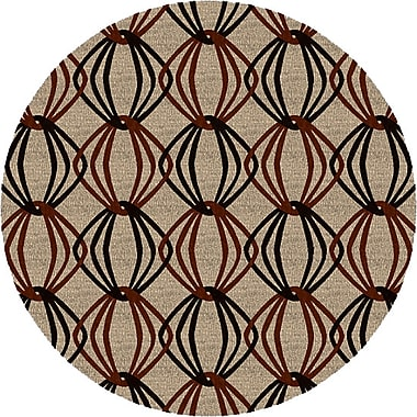 George Oliver Stow Beige/Black Area Rug; Round 8'