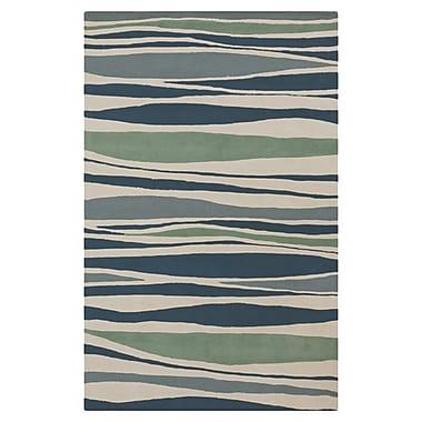 Highland Dunes Brickyard Parchment/Pacific Blue Rug; 8' x 11'