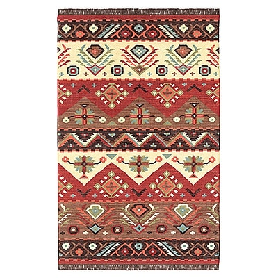 Loon Peak Double Mountain Red Rug; Rectangle 3'6'' x 5'6''