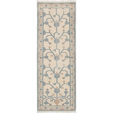ECARPETGALLERY Stonewash Ushak Hand-Woven Cream Area Rug; Rectangle 3' x 10'