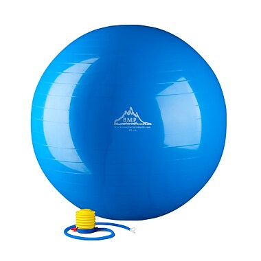 Black Mountain 2000 lb Static Strength Exercise Stability Ball with Pump Blue, 65 cm