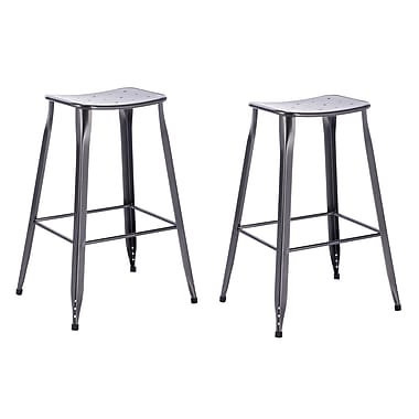 ACEssentials™ Lennon™ Metal Saddle Backless Barstools, Charcoal, 2/Pack (270001)