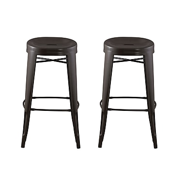 ACEssentials™ Quinn™ Contoured Seat, Round Backless Barstools, Dark Brown, 2/Pack (271201)