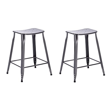 ACEssentials™ Lennon™ Metal Saddle Backless Counter Stools, Charcoal 2/Pack (270801)
