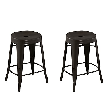 ACEssentials™ Quinn™Contoured Seat, Round Backless Counter Stools, Dark Brown 2/Pack (271101)