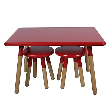 ACEssentials™ Kids Dipped Table Set, 2 Stools, Red (154301)