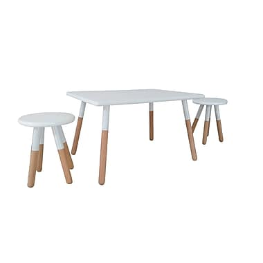 ACEssentials™ Kids Dipped Table Set, 2 Stools, White (153701)