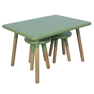 ACEssentials™ Kids Dipped Table Set, 2 Stools, Olive (153801)