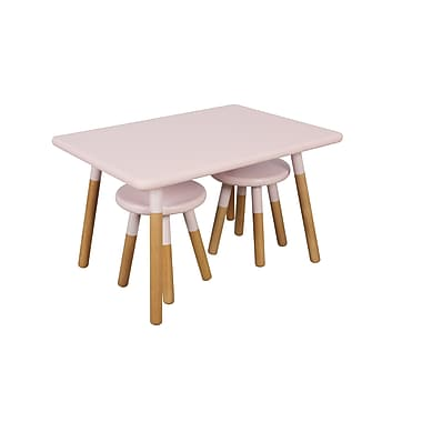 ACEssentials™ Kids Dipped Table Set, 2 Stools, Pink (154201)