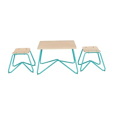 ACEssentials™ Kellan Kids Table Set, 2 Stools, Aqua (152701)