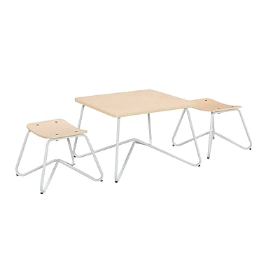 ACEssentials™ Kellan Kids Table Set, 2 Stools, White (153201)