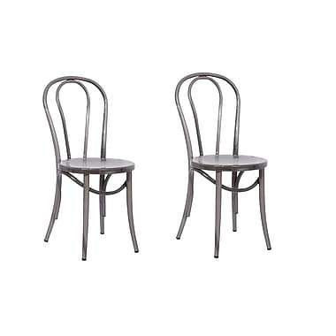 ACEssentials™ Metal Bistro Dining Chairs, Natural Metal, 2/Pack (271501)