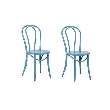 ACEssentials™ Metal Bistro Dining Chairs, Teal, 2/Pack (271601)
