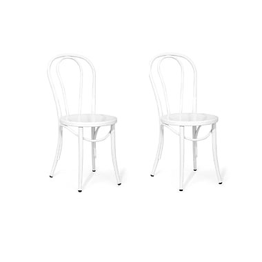 ACEssentials™ Metal Bistro Dining Chairs, White, 2/Pack (272401)