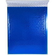 JAM Paper® Bubble Mailers with Peel and Seal Closure, 12 x 15 1/2, Blue Metallic, 12/pack (2745206)