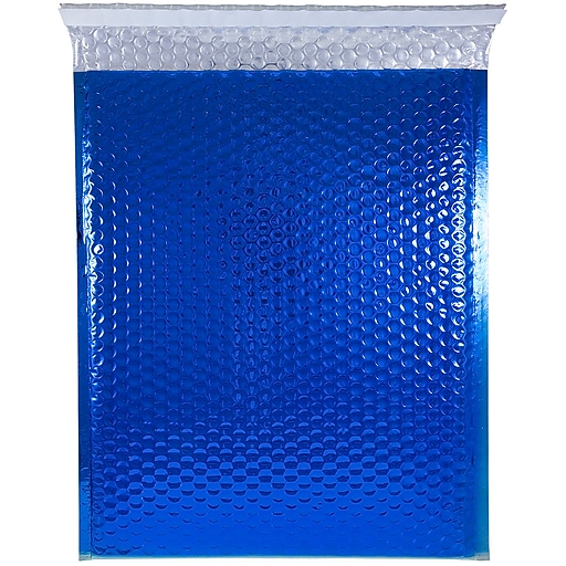 JAM Paper® Bubble Padded Mailers with Peel and Seal Closure, 12 x 15.5, Blue Metallic, 12/Pack (2745206)
