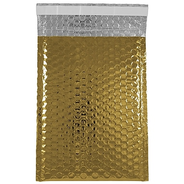 JAM Paper® Bubble Mailers with Peel and Seal Closure, 6 3/8 x 9 1/2, Gold Metallic, 12/pack (2745208)