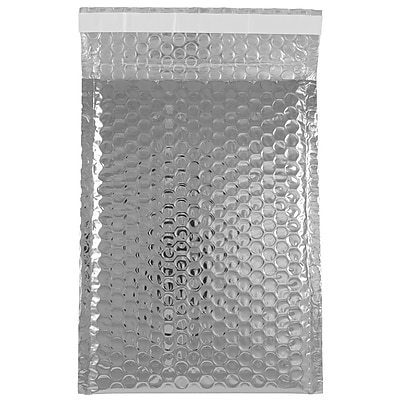 JAM Paper® Bubble Mailers with Peel and Seal Closure, 6 3/8 x 9 1/2, Silver Metallic, 12/pack (2744434)