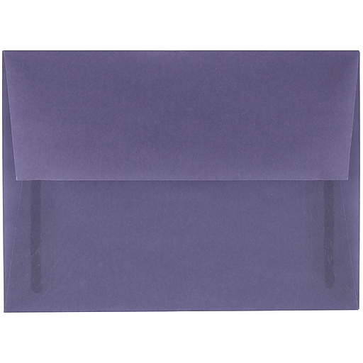 JAM Paper® A6 Translucent Vellum Invitation Envelopes, 4.75 x 6.5, Wisteria Purple, 50/Pack (PACV654I)