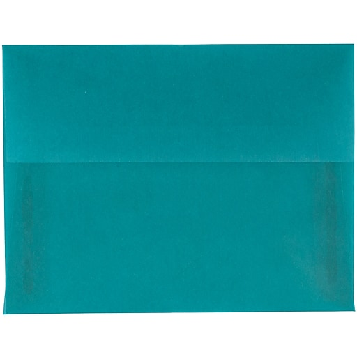 JAM Paper® A2 Translucent Vellum Invitation Envelopes, 4.375 x 5.75, Aqua Blue, 25/Pack (1591674A)