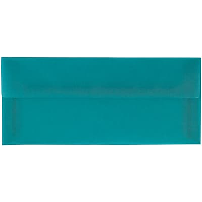 JAM Paper® #10 Business Envelopes, 4 1/8 x 9 1/2, Aqua Blue Translucent Vellum, 25/pack (PACV364A)