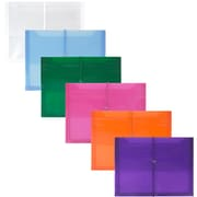 JAM Paper® Plastic Envelopes, 2 5/8 Exp, Elastic Closure, Letter Booklet, 9.75x13, Assorted Poly Colors, 6/pack (218E25BGOPFUCL)