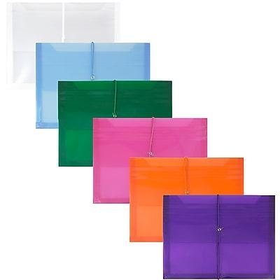 JAM Paper® Plastic Envelopes, 2 5/8 Exp, Elastic Closure, Letter Booklet, 9.75x13, Assorted Poly Colors, 6/pack (218E25BGOPFUCL)