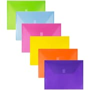 "JAM Paper® Plastic Envelopes with VELCRO® Brand Closure, Letter Booklet, 9 3/4"" x 13"", Assorted Colours, 6/Pack (218V0ASSRT)"