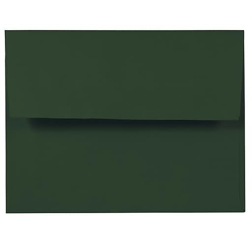 JAM Paper® A2 Invitation Envelopes, 4.375 x 5.75, Dark Green, 50/Pack (1512744i)
