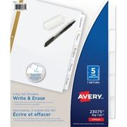 Avery® - Gros séparateurs à onglets, inscriptibles, blanc, ens. de 5 onglets (23075)