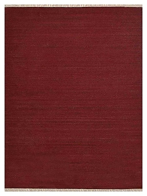 Bloomsbury Market Coturnix Contemporary Hand-Woven Wool Dark Red Area Rug; 3' x 5'