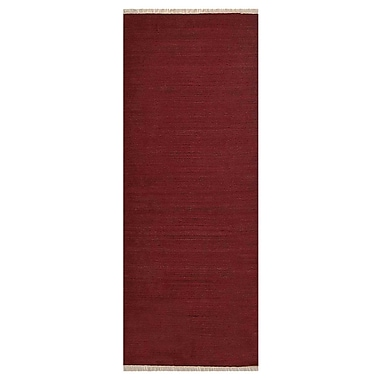 Bloomsbury Market Coturnix Contemporary Hand-Woven Wool Dark Red Area Rug; Runner 2' 6'' x 10'