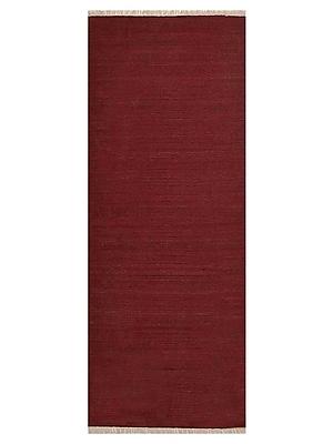 Bloomsbury Market Coturnix Contemporary Hand-Woven Wool Dark Red Area Rug; Runner 2' 6'' x 10'