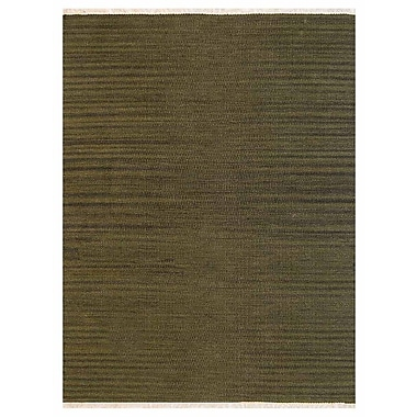 Bloomsbury Market Creede Contemporary Hand-Woven Wool Olive Area Rug; 4' x 6'